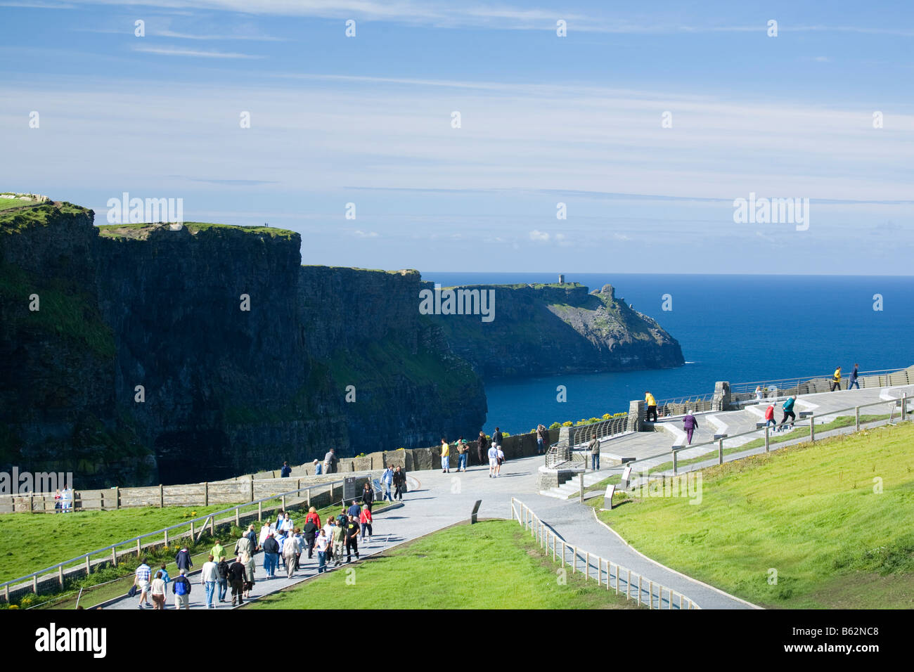 Visitors at Cliffs of Moher Co Clare Ireland - Stock Image