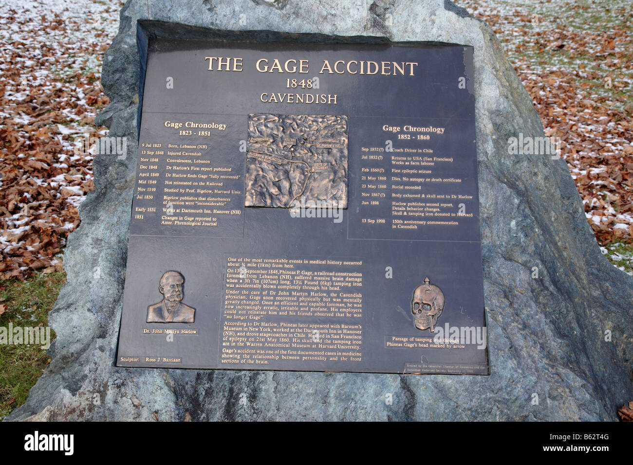 The Gage Accident plaque in Cavendish Vermont USA Stock Photo