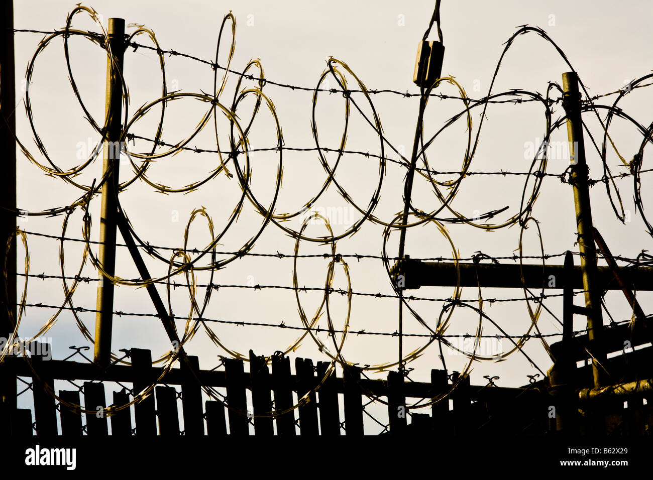 Barbed Wire Fence Los Angeles California United States of America - Stock Image