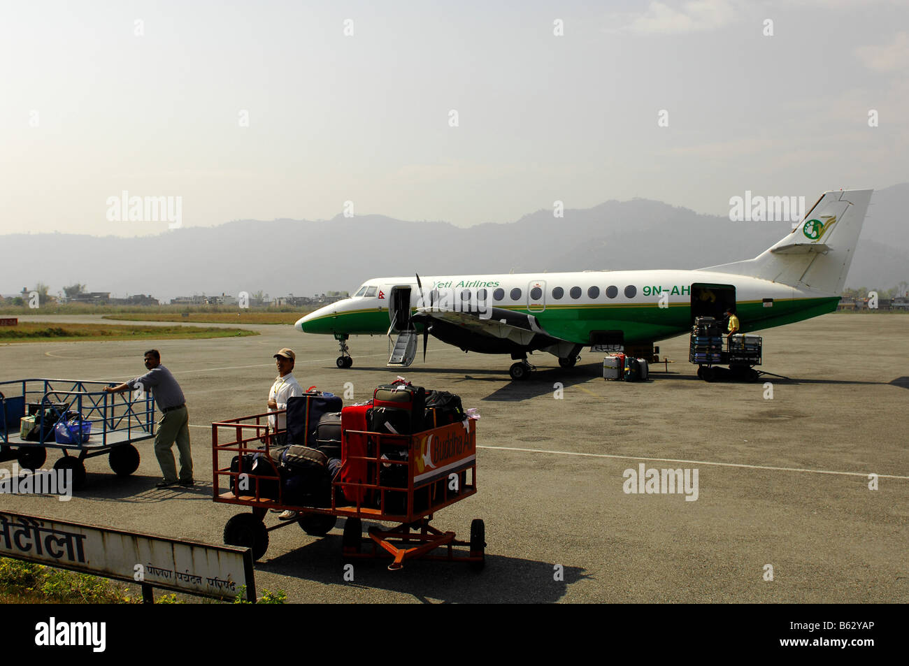 Internal flights by Yeti airlines in Nepal - Stock Image