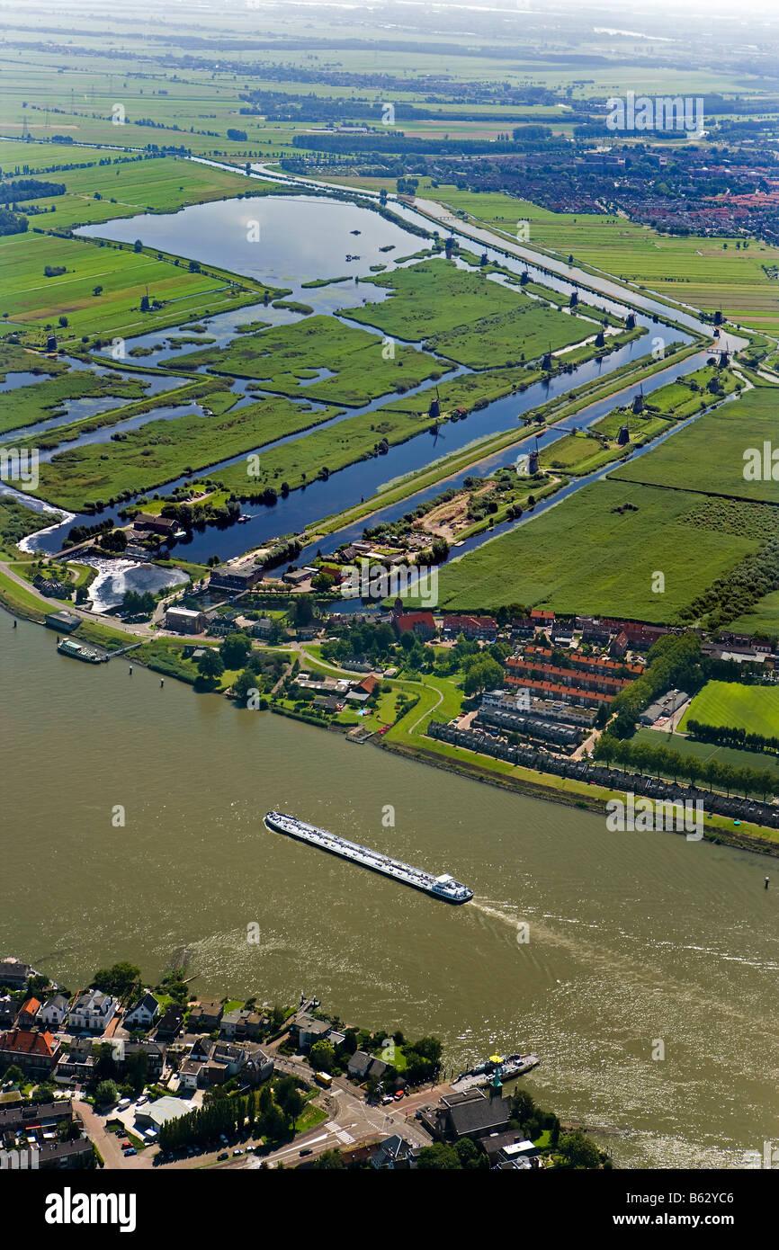 Netherlands Zuid Holland Kinderdijk Windmills in polder  Unesco World Heritage Site near Lek river Stock Photo