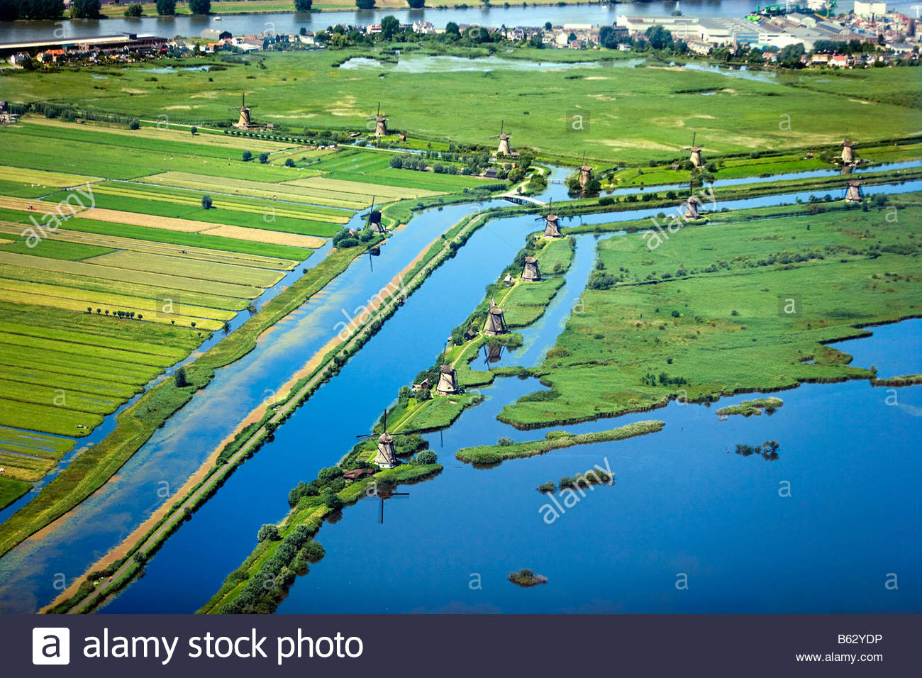 Netherlands Zuid Holland Kinderdijk Windmills in polder Unesco World Heritage Site Aerial - Stock Image