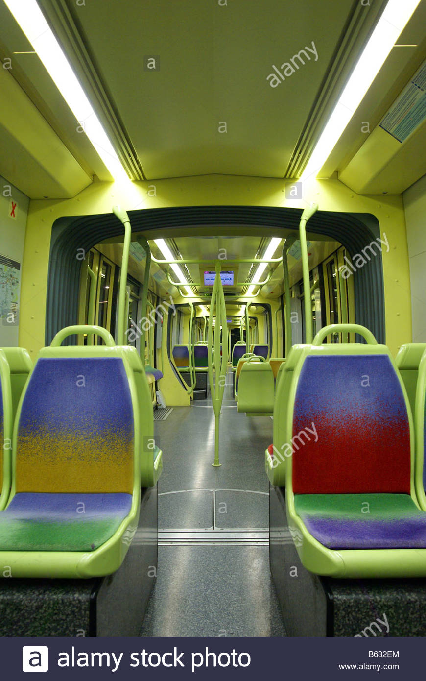 Public transportation : Taking the tramway at night - Stock Image