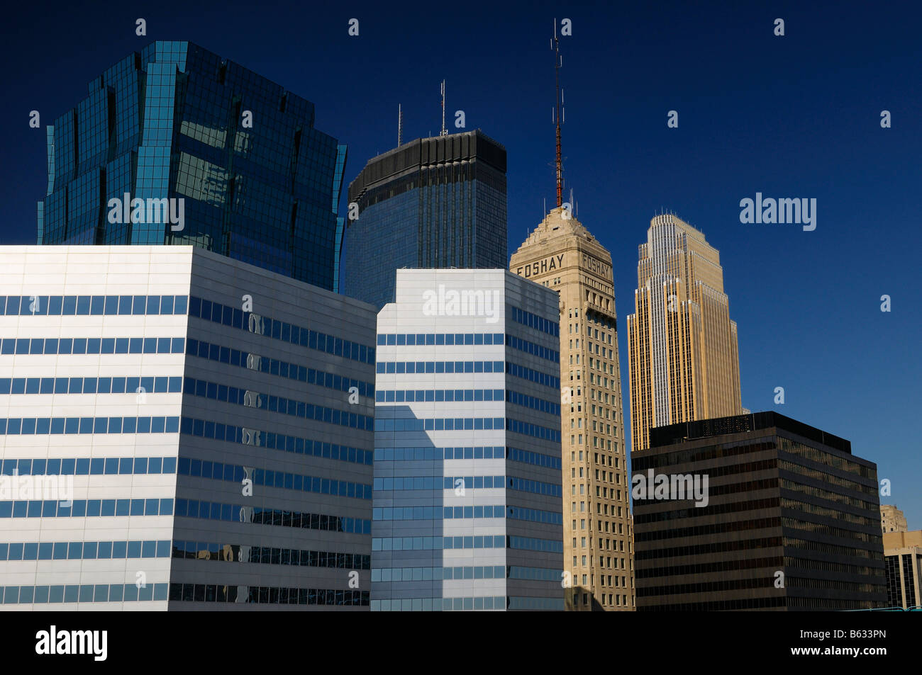 Kinnard Financial and AT and T and IDS and Foshay and TCF Towers and Wells Fargo in Minneapolis blue sky cityscape - Stock Image