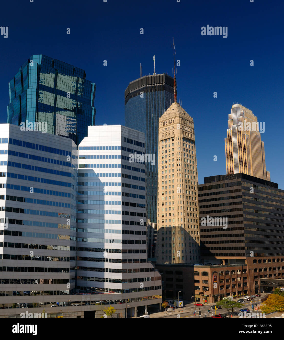 Kinnard Financial Center and AT T and IDS and Foshay and TCF Towers and Wells Fargo in Minneapolis cityscape Minnesota - Stock Image