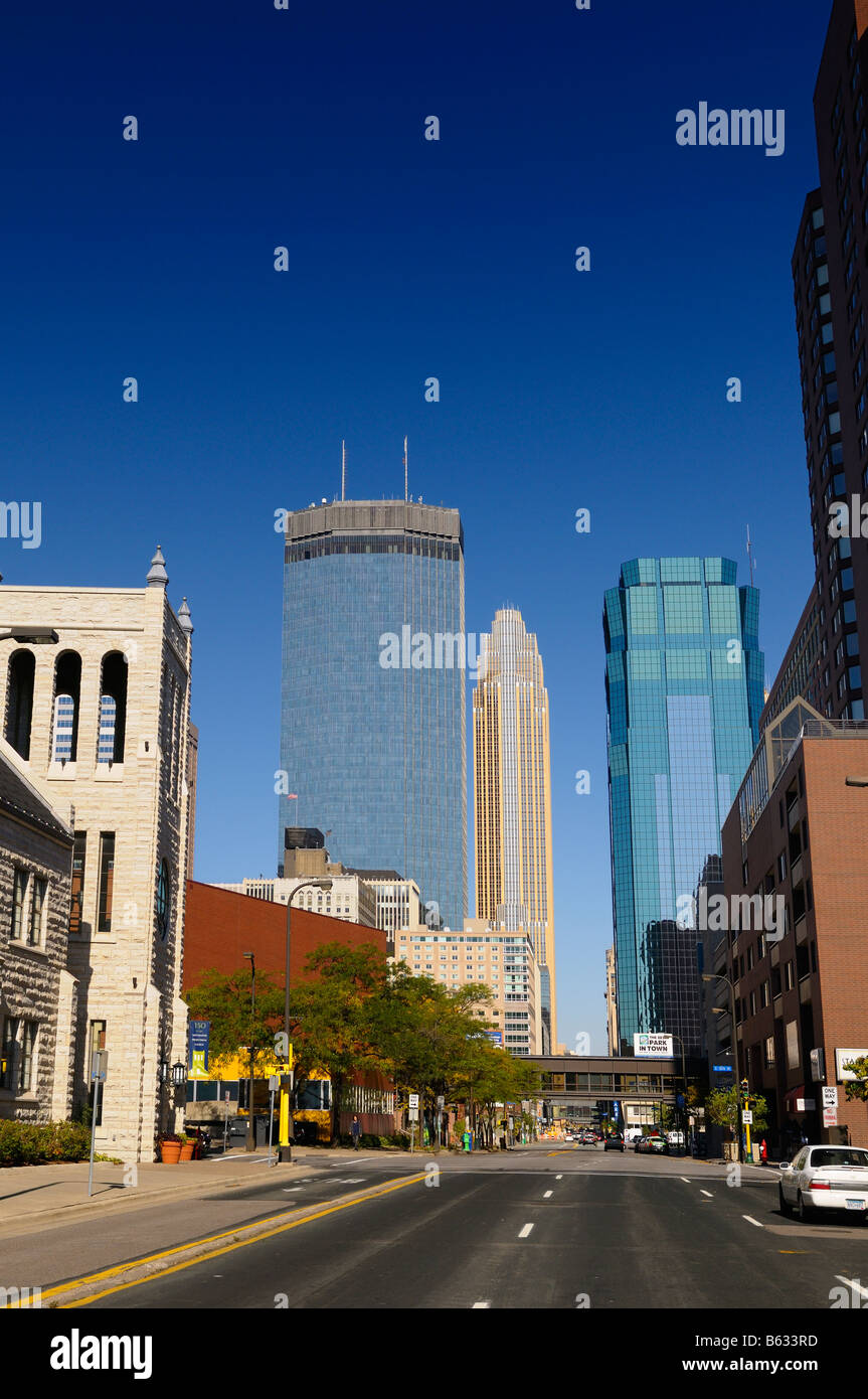 IDS Tower and Wells Fargo Center and AT T Tower from empty Marquette Avenue Minneapolis Minnesota USA with blue - Stock Image