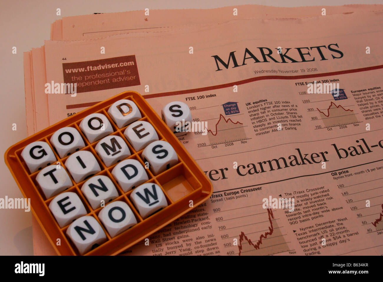 Game words arranged to state 'Good times ends now' on the markets page of the Financial Times news paper - Stock Image