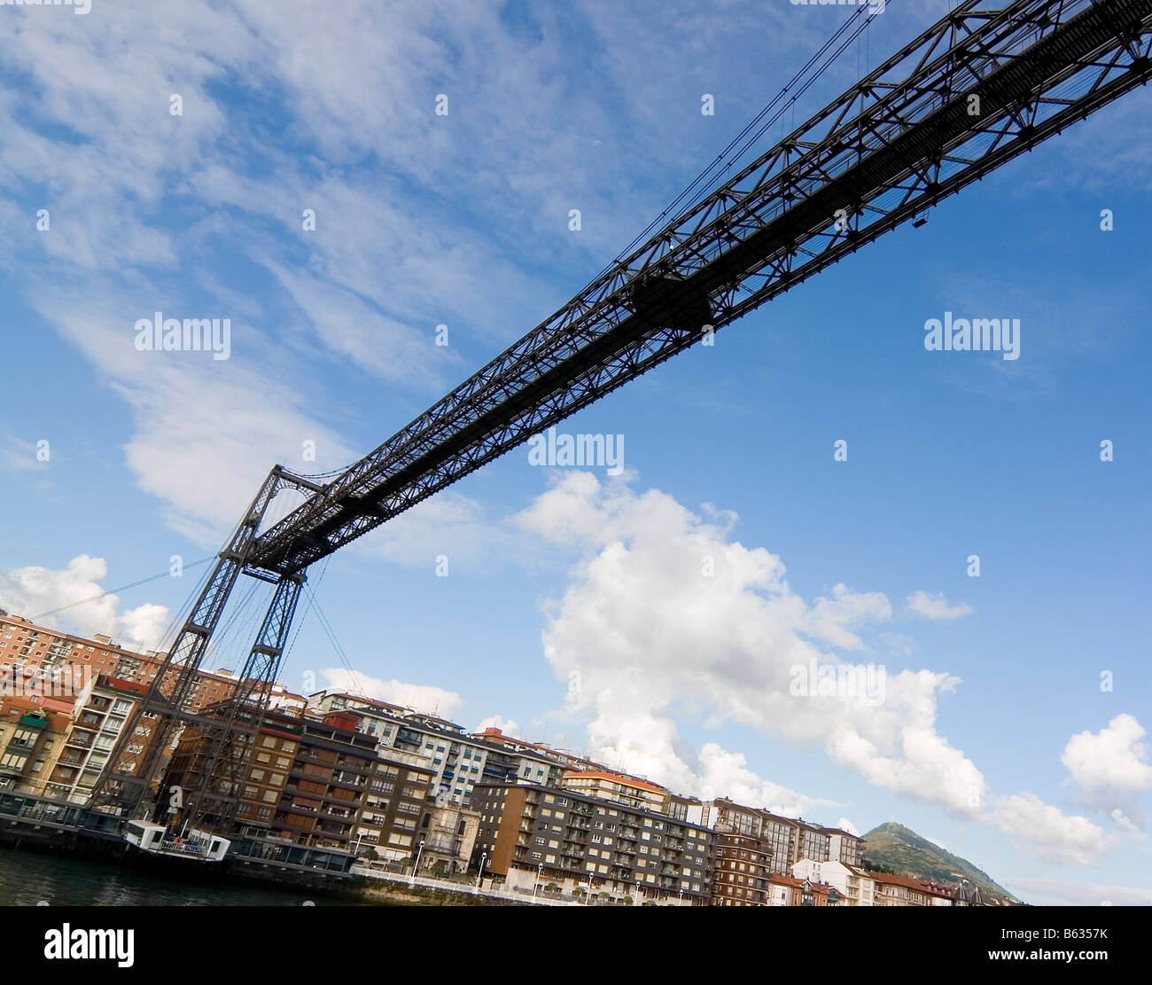 hanging bridge of portugalete is the oldest hanging bridge of the world and it is unesco patrimony of humanity - Stock Image
