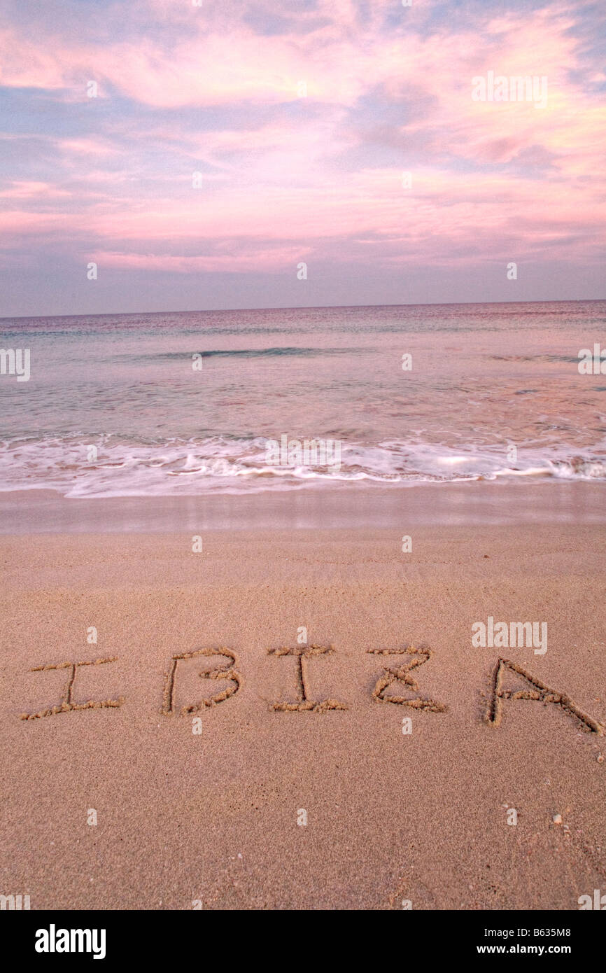 Ibiza written on the sand of a beach Stock Photo: 20968648