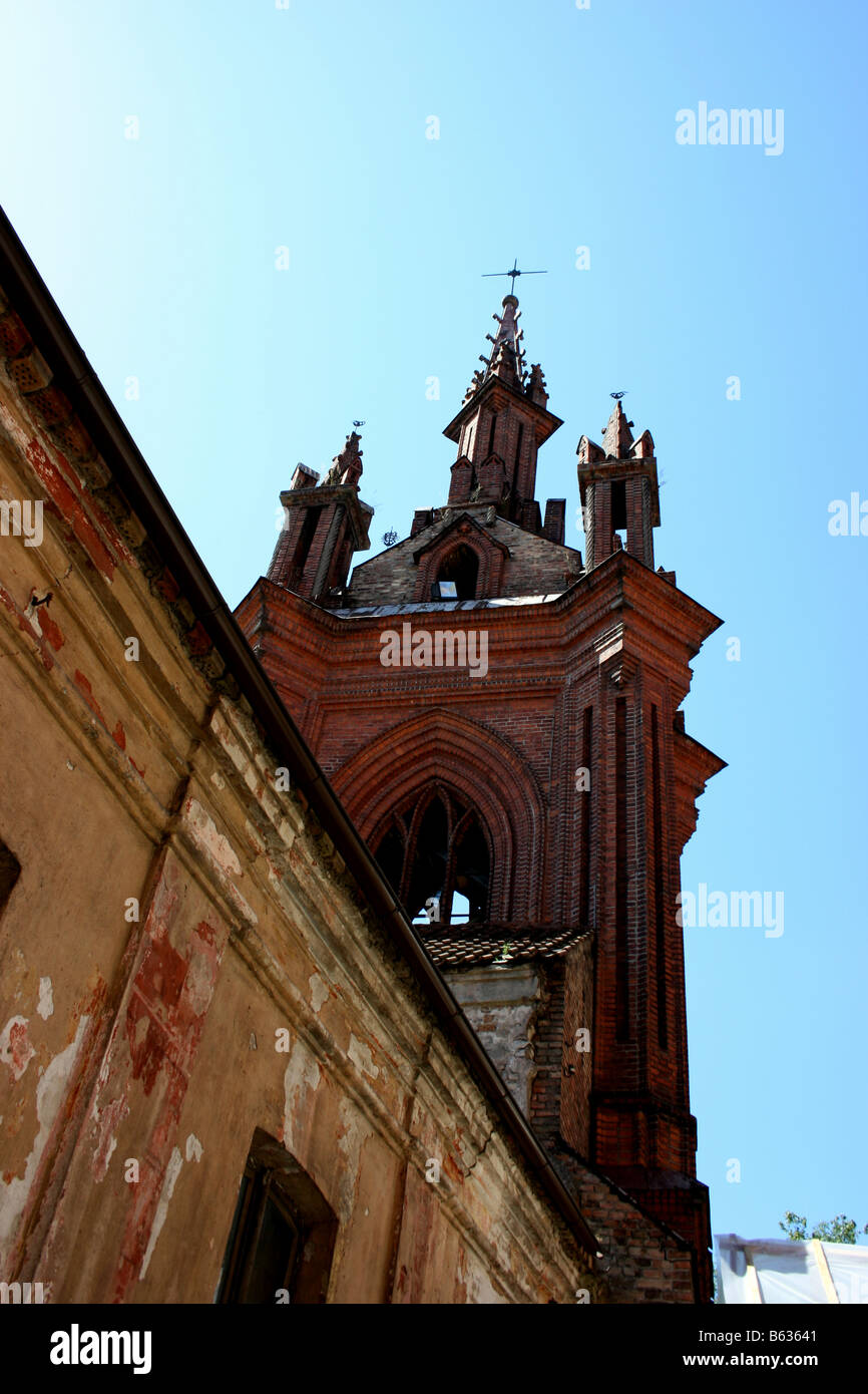 Belfry of St. Anne's Church, Vilnius, Lithuania - Stock Image