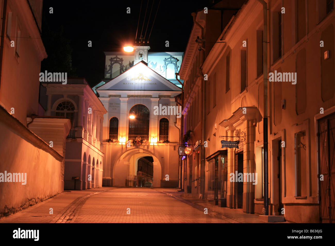 The chapel of the Dawn Gate, night view, Vilnius, Lithuania - Stock Image