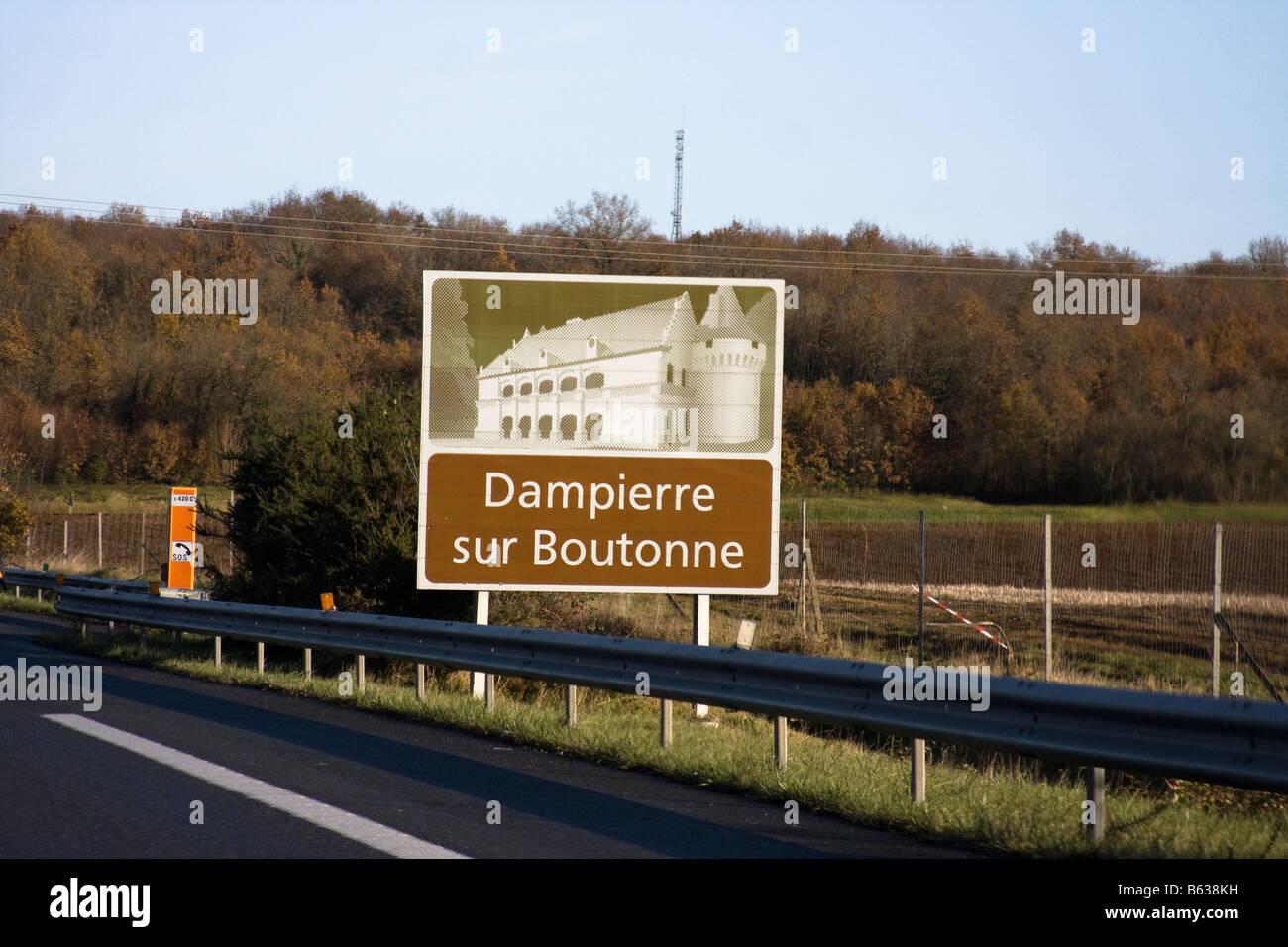 French Autoroute tourist signs - Dampierre sur Boutonne Stock Photo
