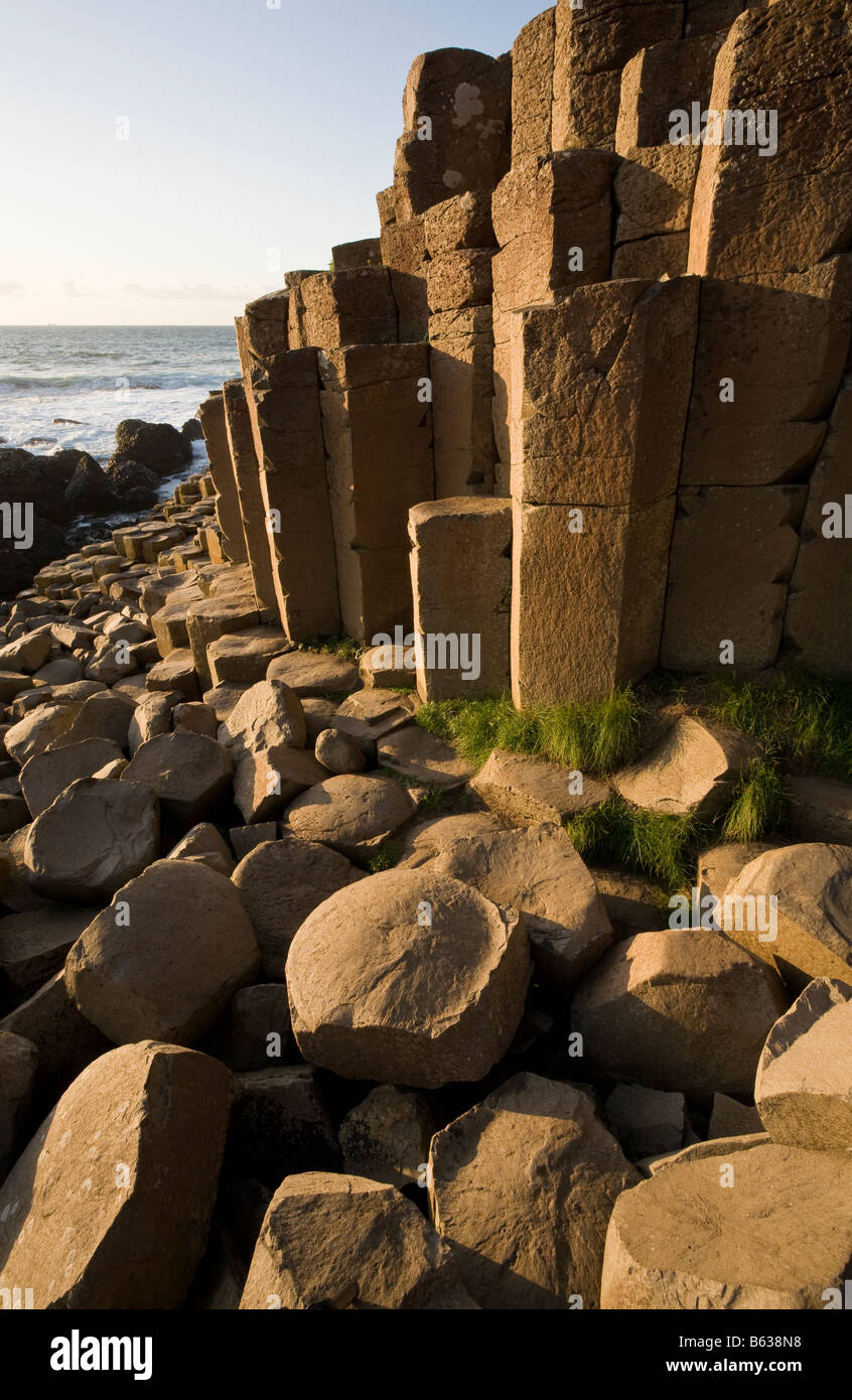 Patterns in the Rock: The giant s causeway s unique shaped rock columns are a major tourist draw for the Antrim - Stock Image