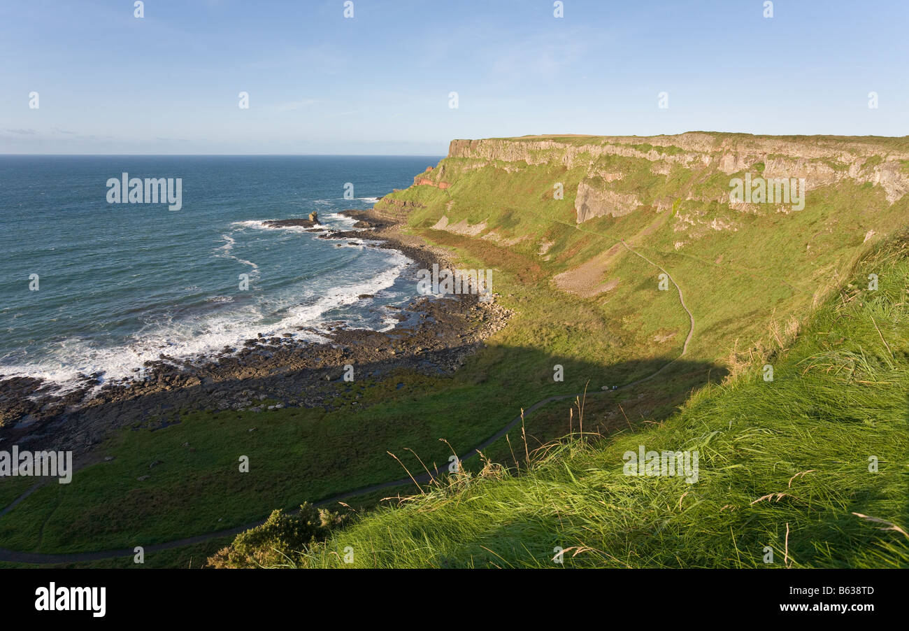 Path Cliffs and Headlands looking east. The cliff above and the headlands beyond the main causeway site Stock Photo