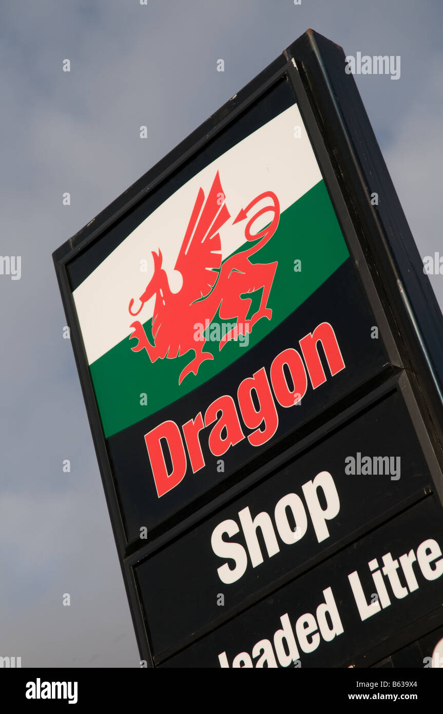 Dragon petrol station Machynlleth Powys Wales UK - the red dragon is the national emblem of wales - Stock Image