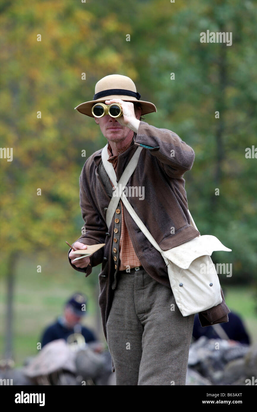 A journalist character covering the battles in the Civil War reenactment at the Wade House Greenbush Wisconsin - Stock Image