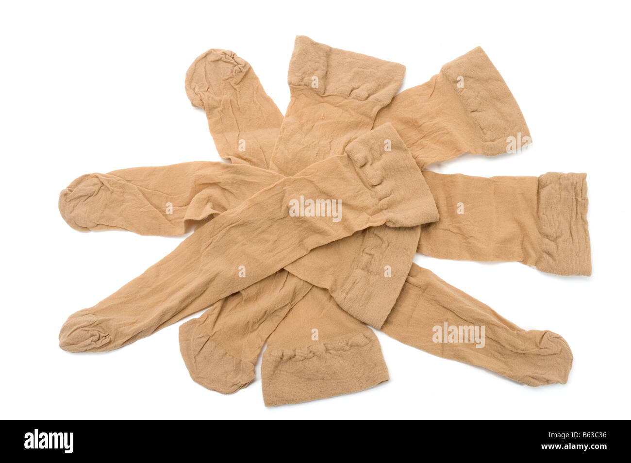 Pile of 'knee length' nylon tights - Stock Image
