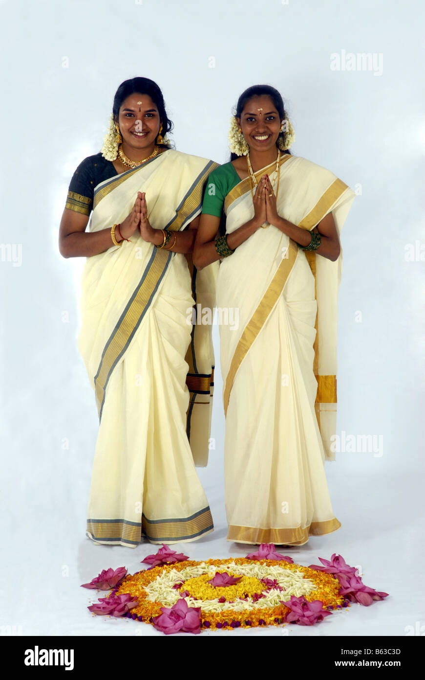 MODELS FROM KERALA IN TRADITIONAL ATTIRE DURING ONAM Stock ...