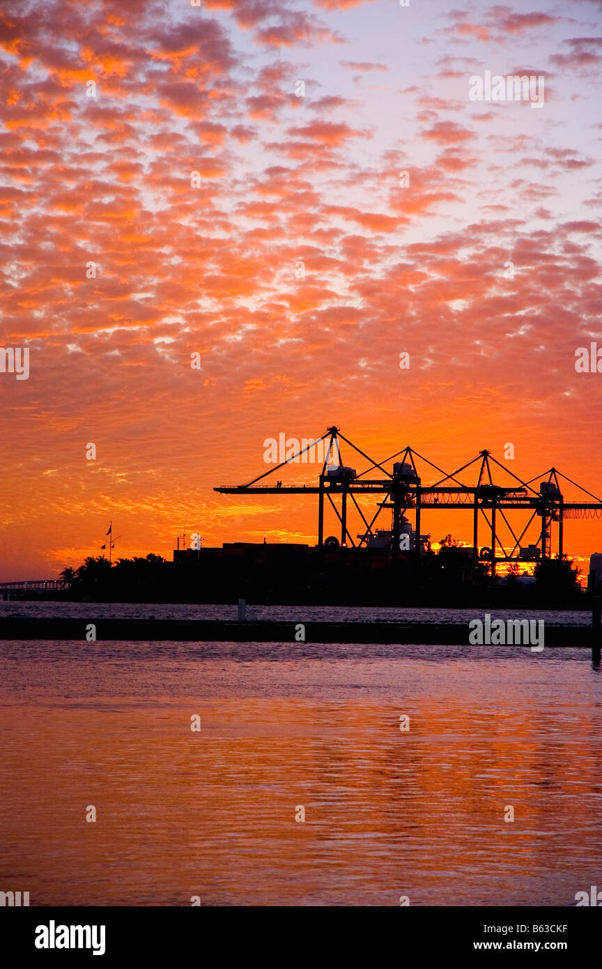 Silhouette of cranes at a commercial dock at dusk, Port Of Miami-Dade, Miami, Florida, USA - Stock Image