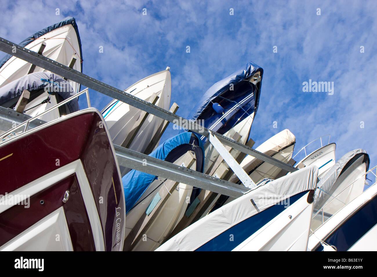 boat stack, marina, southampton - Stock Image