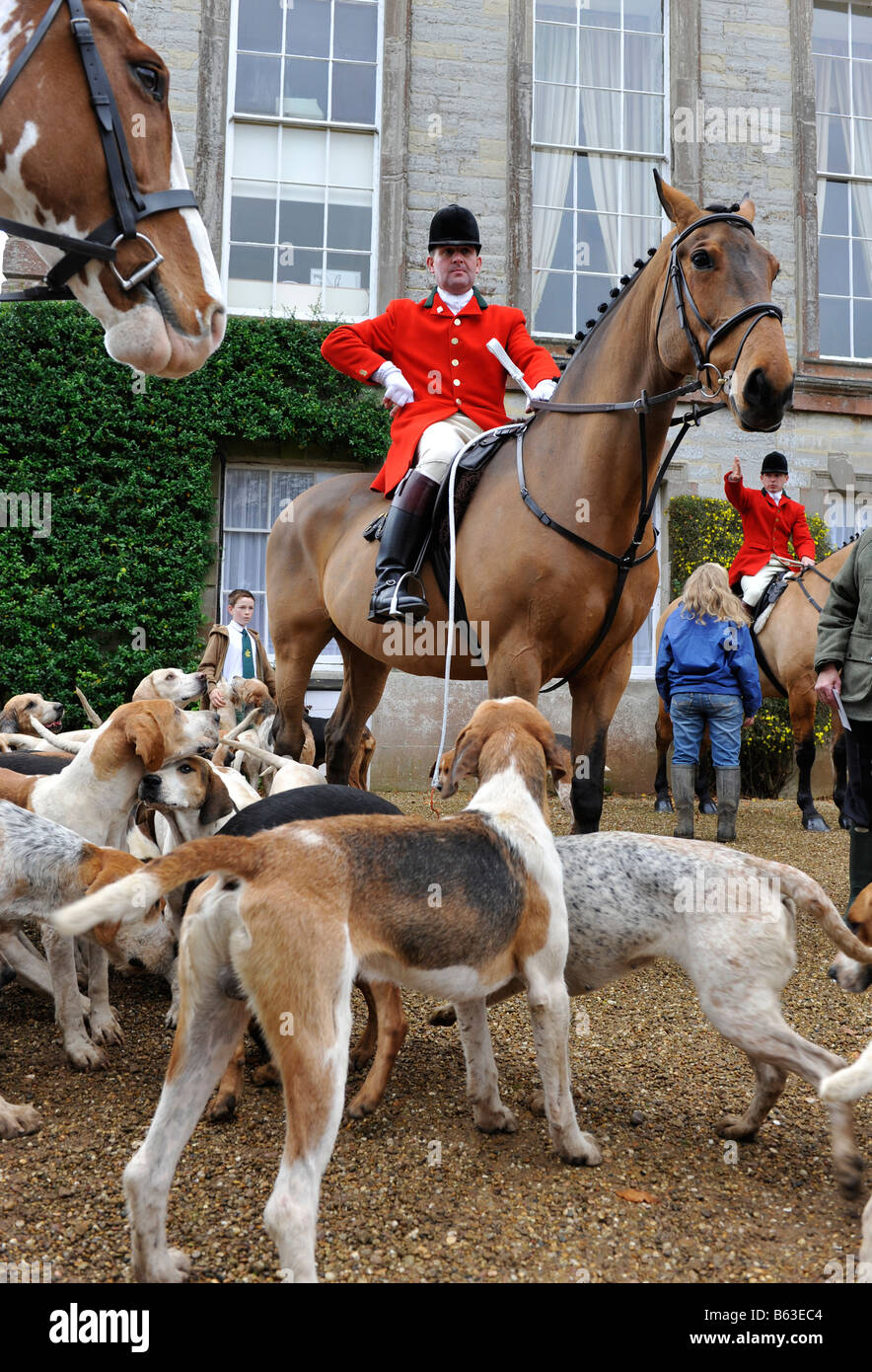 The Croome and West Warwickshire  hunt at a meeting at Ragley Hall in Warwickshire. The Foxhounds and Master of - Stock Image