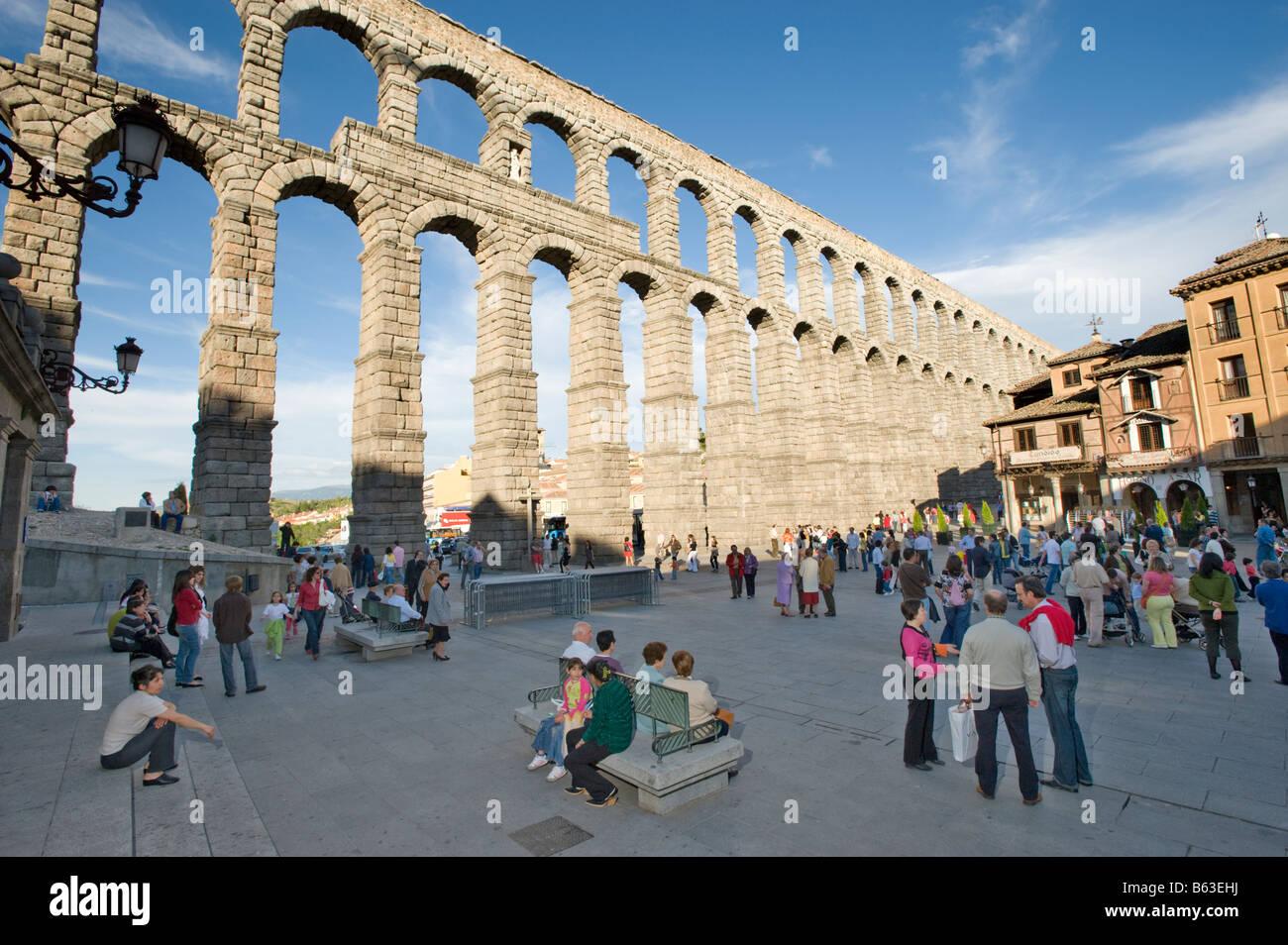 The Roman Aqueduct at Segovia, Spain. - Stock Image
