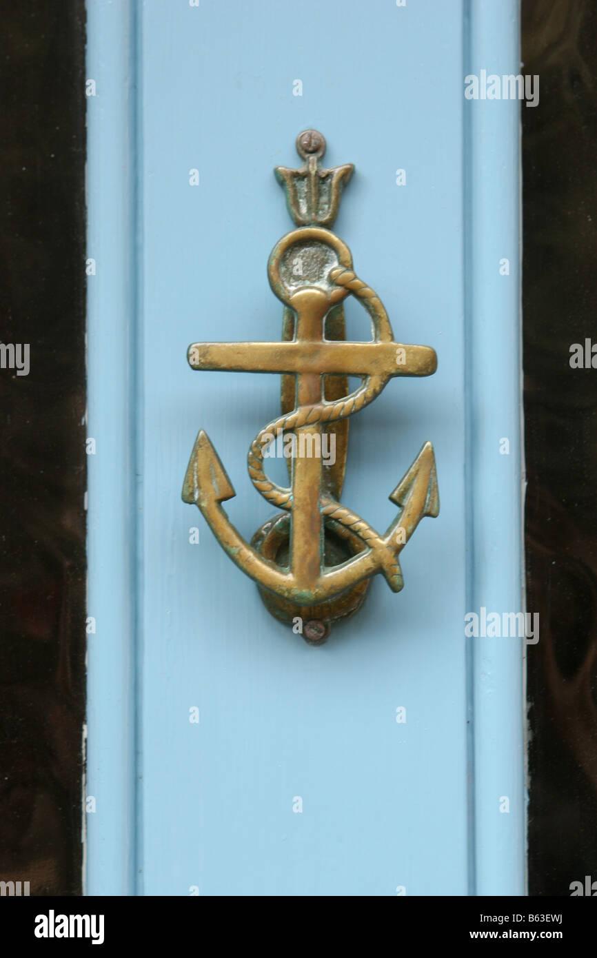 Anchor Door Knocker on Blue Door - Stock Image & Anchor Door Knocker Stock Photos \u0026 Anchor Door Knocker Stock Images ...