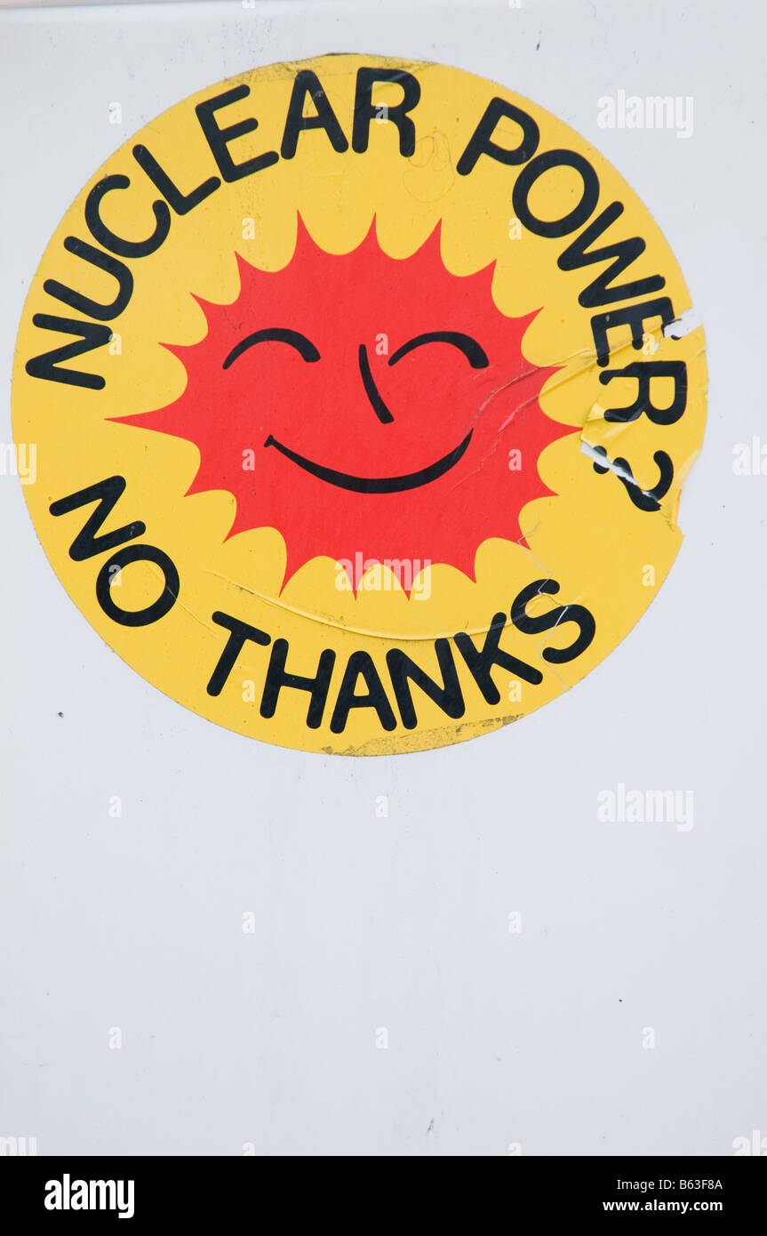 "Old ""Nuclear Power No Thanks"" sticker, smiling sunny face Stock Photo"