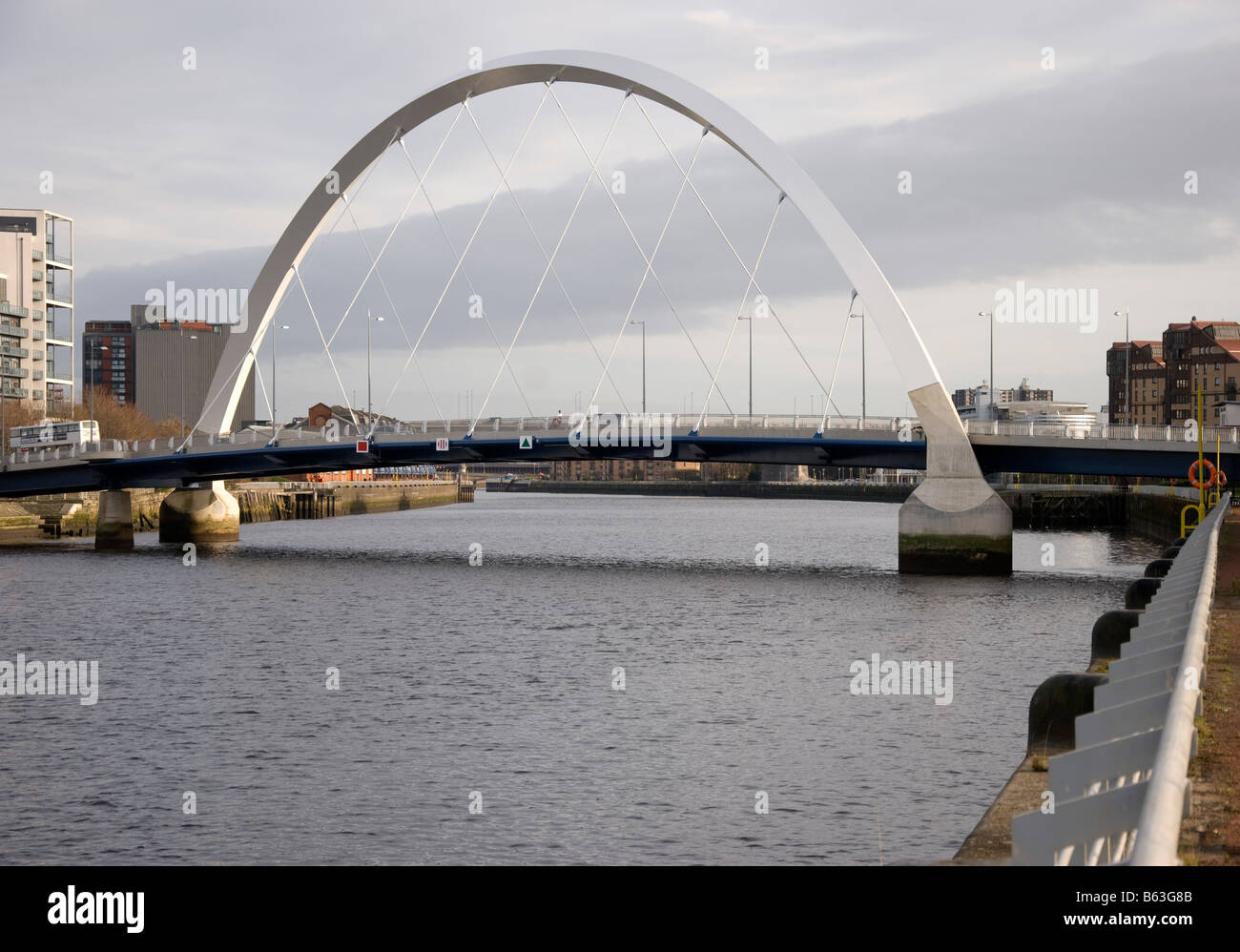 The Squinty Bridge River Clyde Finnieston Glasgow Scotland U.K. United Kingdom - Stock Image