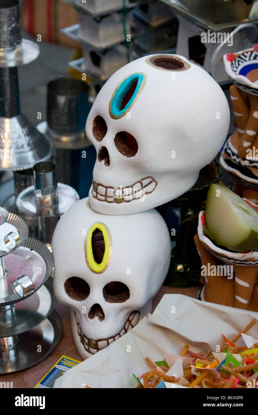 Oaxaca, Mexico, North America. Day of the Dead Decorations. Candle Holders in the Shape of a Skull. - Stock Image