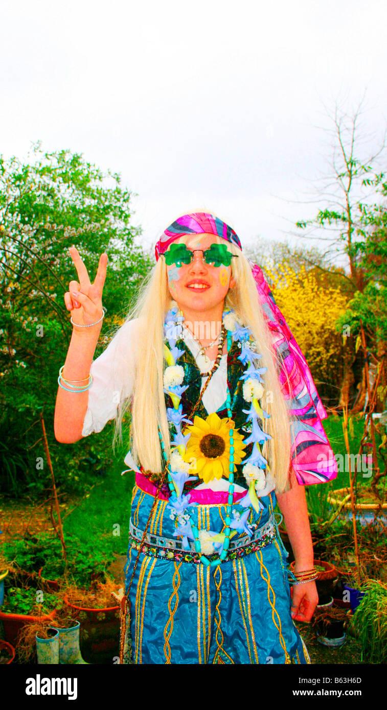 Hippy Child seventies peace - Stock Image