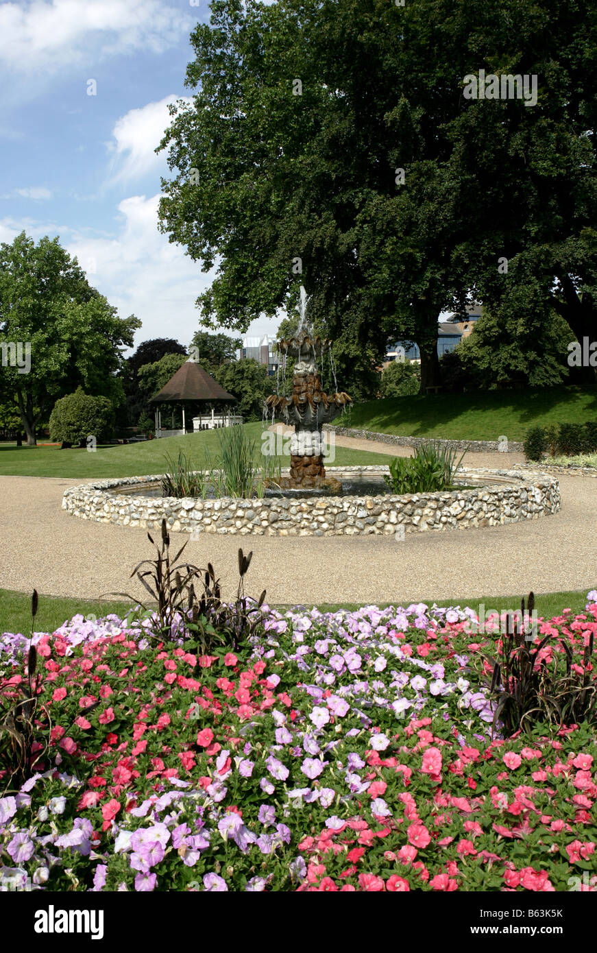 A view of Forbury Gardens in Reading Town centre, Berkshire, England. Stock Photo