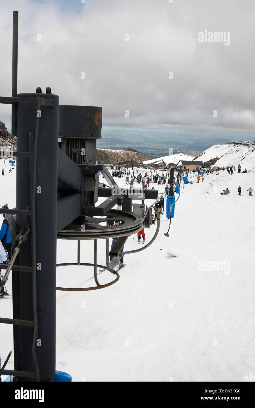 Mount Ruapehu T-bar lift - Stock Image