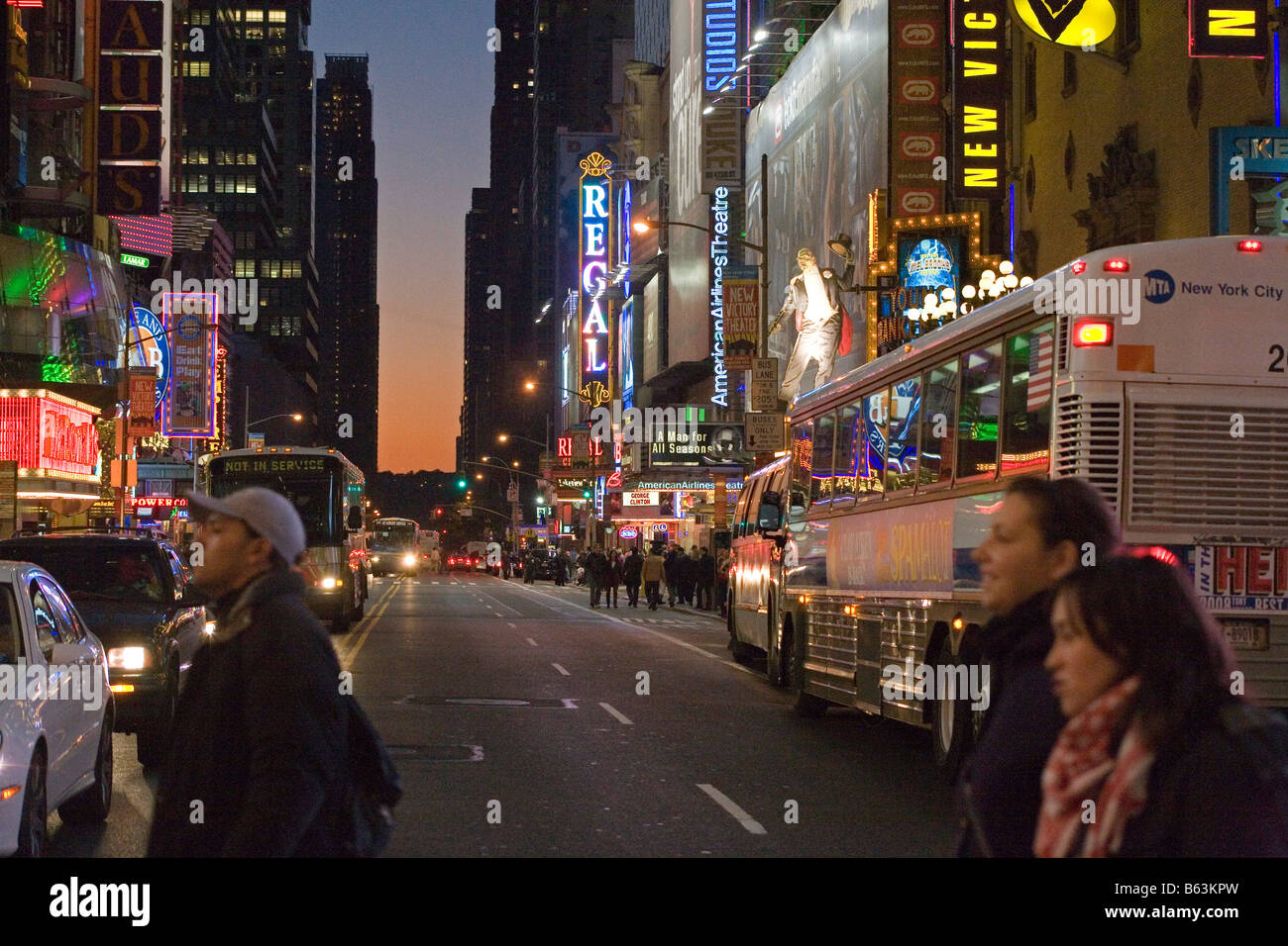 42nd Street Broadway New York USA at dusk - Stock Image