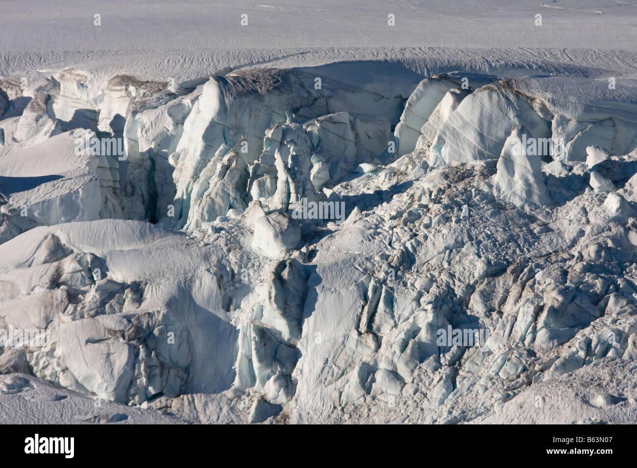 An icefall on the Easton Glacier of Mount Baker in the Mount Baker Recreation Area North Cascades Washington - Stock Image