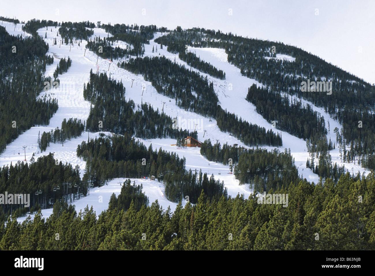 red lodge mountain resort ski area in montana usa stock photo