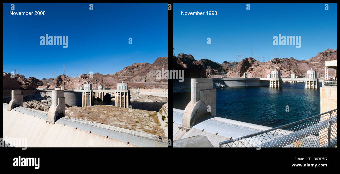 Lake Mead at the Hoover Dam showing the unprecedented low water levels in Nov 2008 compared to Nov 1998, Arizona Stock Photo