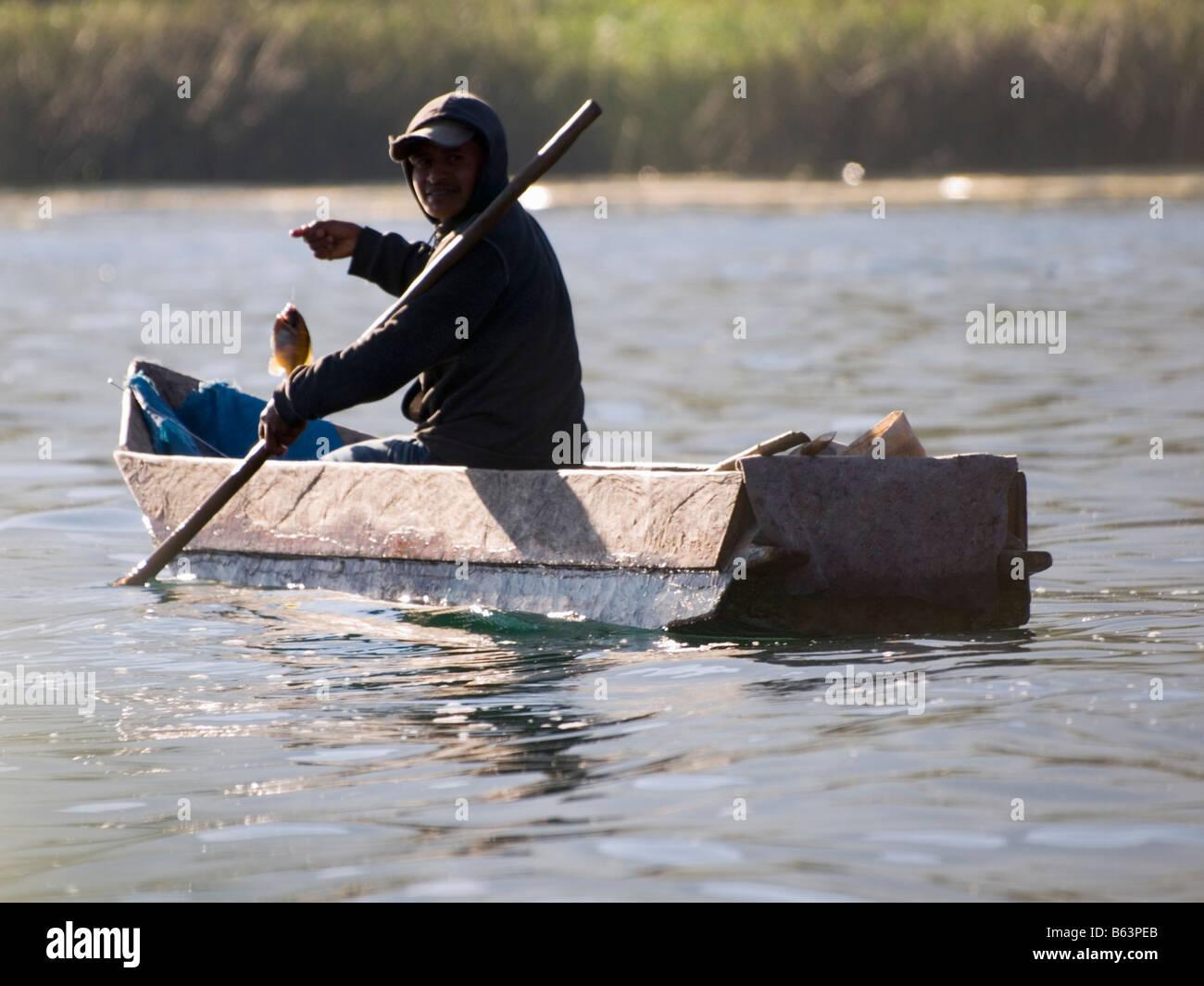 Santiago Atitlan Guatemala Fishermen on lake Atitlan - Stock Image