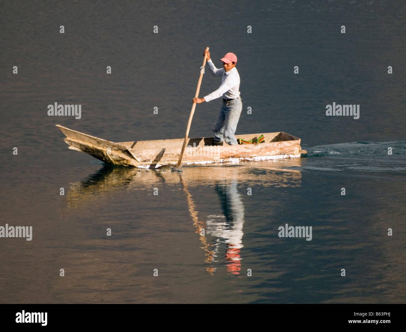 Fishermen on Lake Atitlan - Stock Image