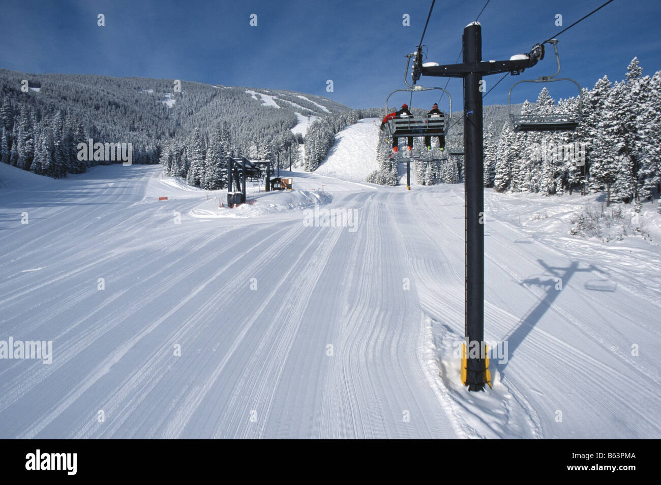 Fresh Groomed Snow From The First Chair In Red Lodge Montana Usa Stock Photo Alamy