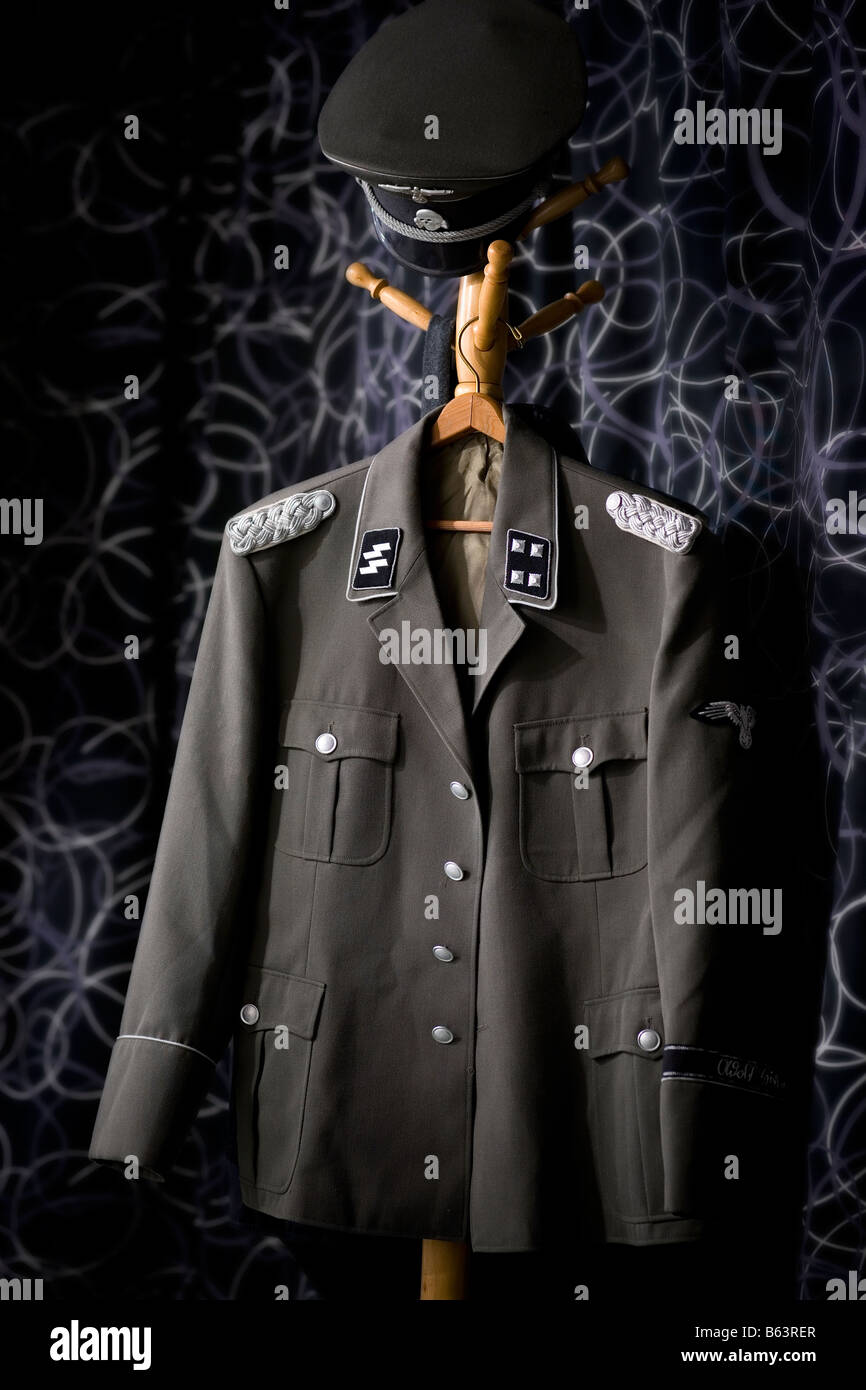 German Nazi high rank SS officer uniform hanging on rack - Stock Image