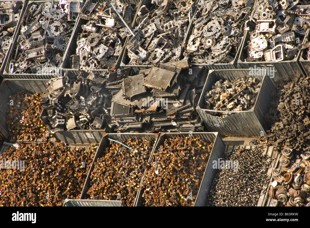 Recycling of auto parts in Bangkok Thailand scrap merchants - Stock Image
