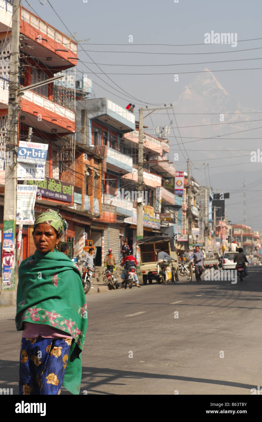 Street scene in Pokhara in Nepal - Stock Image