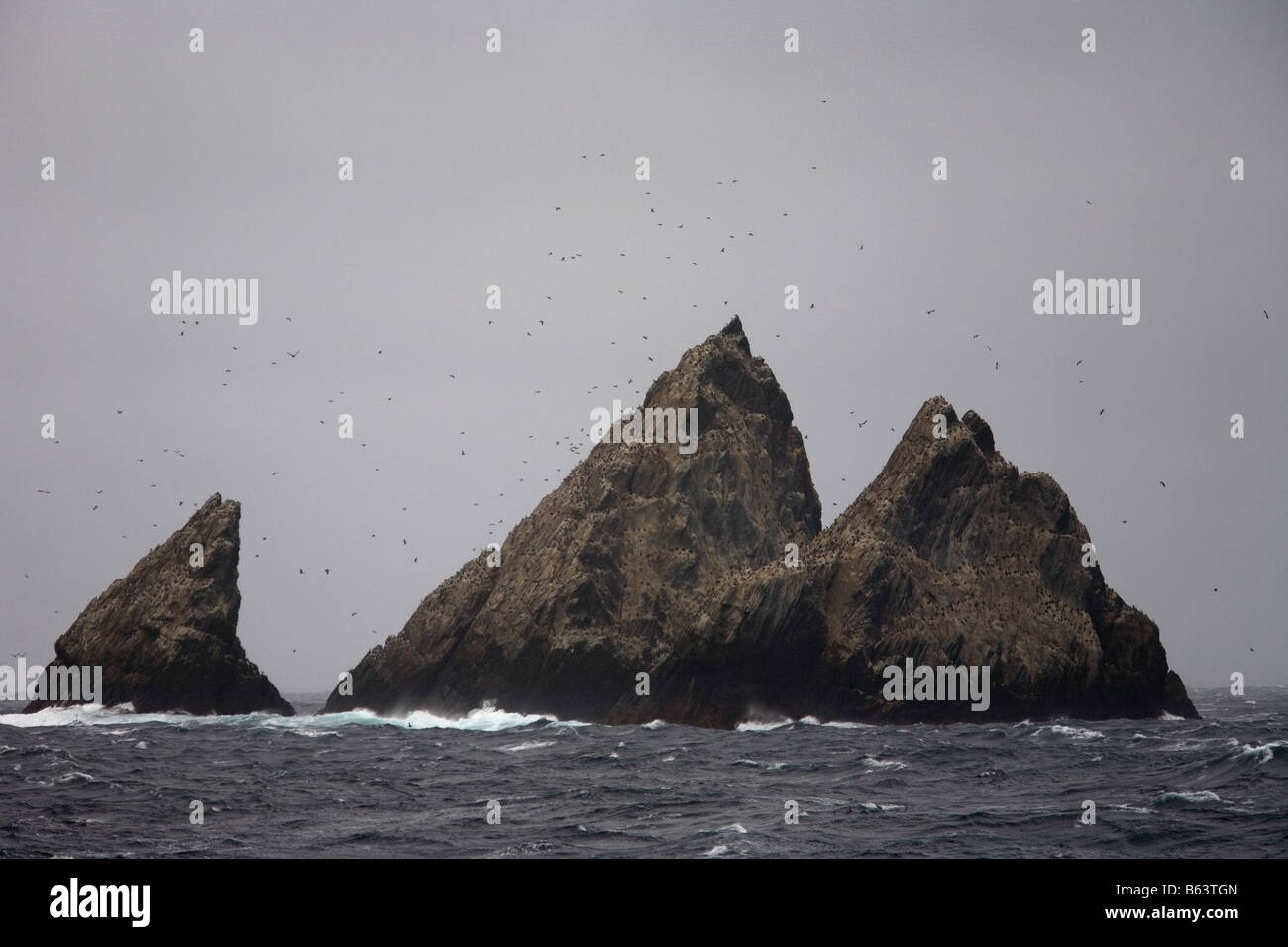 Shag Rocks in middle of Scotia Sea, South Atlantic Ocean Stock Photo