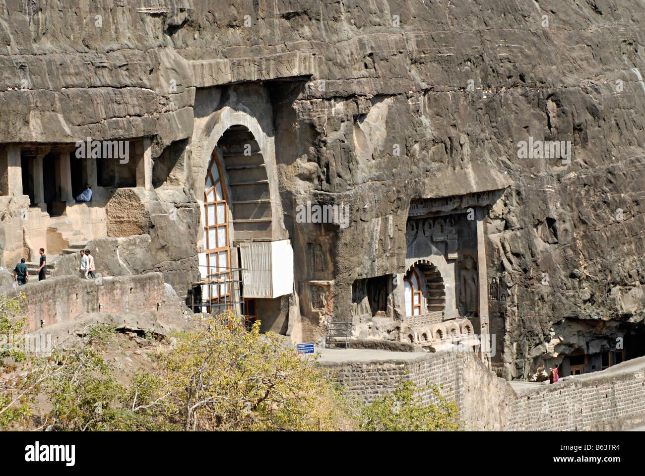 Ajanta -General - View of cave Nos. 9, 10 & 11. Aurangabad, Maharashtra, India - Stock Image