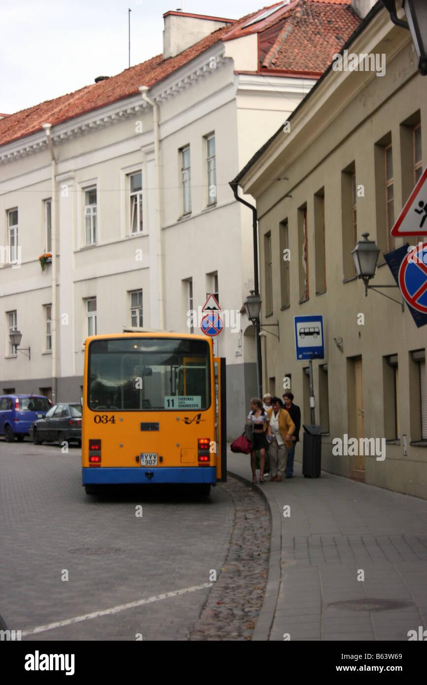 Bus stop, Uzupio street, Vilnius, Lithuania - Stock Image
