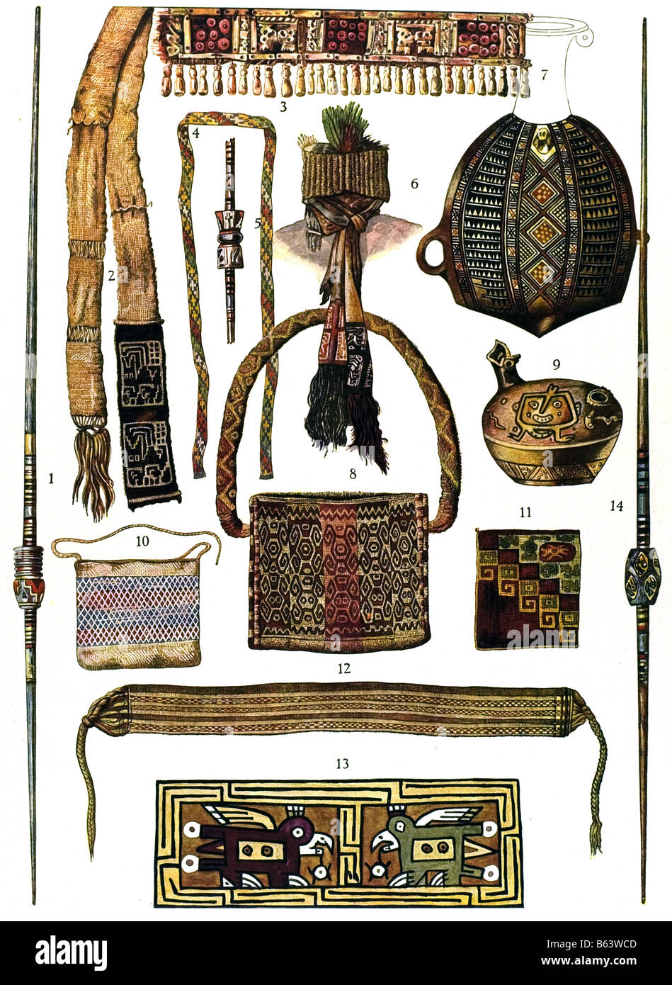 The Prehistorical Ornament / Equipment from the burial ground Ancona in Peru - Stock Image