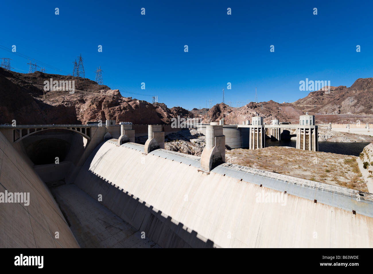 Lake Mead at the Hoover Dam showing the unprecedented low water levels, Arizona / Nevada, USA Stock Photo