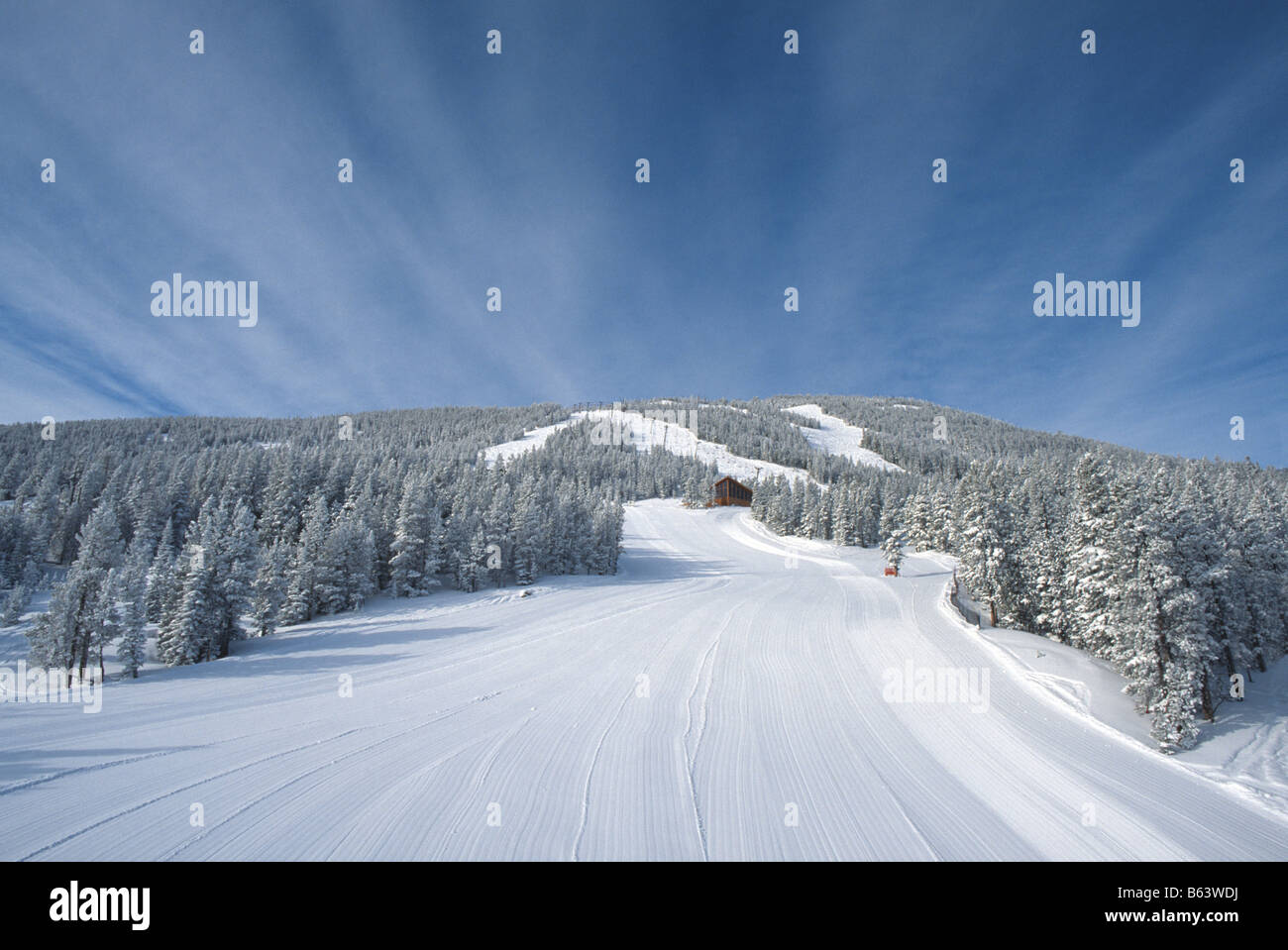 fresh groomed snow on turnpike ski run in red lodge montana usa