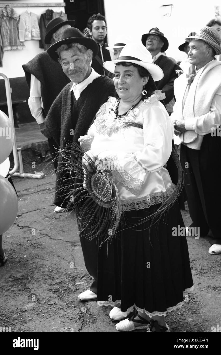 old couple in a trdional costume, Tibasosa, Boyacá, Colombia, South America - Stock Image